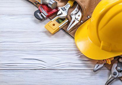 Construction gear, hard hat and tools