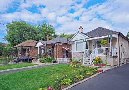 Street of modest homes