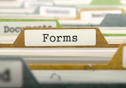 Forms label on filing folder