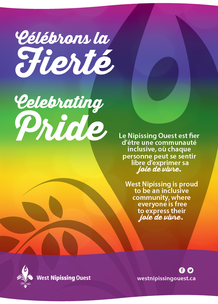 Pride Month Rainbow background with text - west nipissing is proud to be an inclusive community where everyone is free to express their joie de vivre