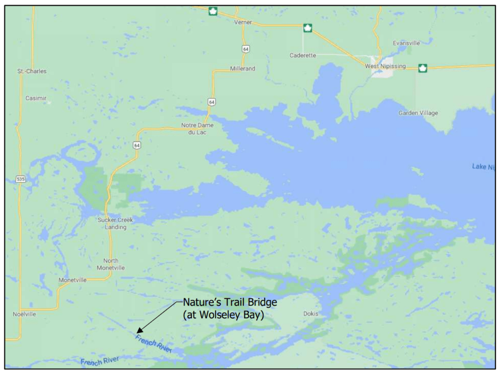 Selected section of a map in West Nipissing with an arrow pointing to the area of the Natures Trail Road Bridge